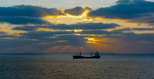Bulk carrier cargo ship in sea Stock Image