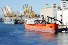 Bulk-carrier Downloading In Barcelona Port  Editorial Image - Image