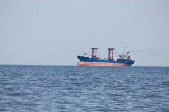 Bulk carrier. Dry bulk cargo carrier in ballast entering the port Stock Photos