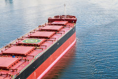 Bulk Carrier. Large bulk carrier with Helicopter Pad on the deck stock photo