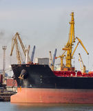 Bulk carrier. A bulk carrier in the port stock image