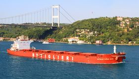 Bulk carrier ship. BOTTIGLIERI GIORGIO AVINO (IMO: 9426104, Italy) on July 5, 2012 in Istanbul. A 229 mt long, 38 mt width vessel, launched into the sea in 2011 Stock Photos