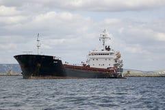 Bulk carrier ship at anchor Stock Image