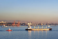 Bulk carrier ship on Bosporus. Istanbul commercial harbor witk bulk carrier ship Royalty Free Stock Photography