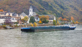 Bulk-carrier ship navigating river Rhine Germany Stock Photography