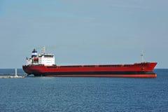Bulk carrier ship. In Odessa harbor quayside stock photo