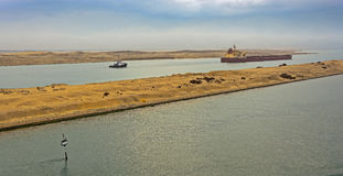 Bulk carrier ship passing through Suez Canal Stock Photos