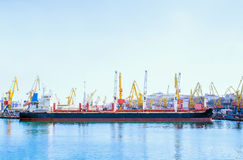 Bulk carrier ship in the port stock image