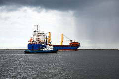 Bulk carrier ship. Set sail from the port after unloading Gdynia stock photo
