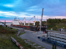 Bulk carrier at twilight Royalty Free Stock Images
