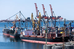 Bulk carriers. Moored at port stock photos