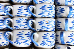 Bulk of ceramic coffee cups by hand made Royalty Free Stock Image