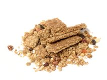 Bulk cereal. Granola , oats and dried fruit isolated over white copy space royalty free stock image