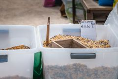 Bulk cereal bin on a street market in Portugal stock photography