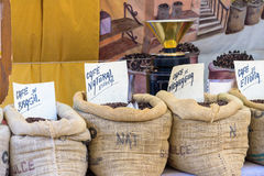 Bulk coffee station in the market royalty free stock photography