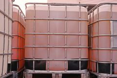 Bulk container for liquid solvent and chemical. Safety storage stock images