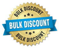 Bulk discount 3d gold badge Royalty Free Stock Images