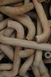 Bulk drawer and cupboard handles. A box full of wooden handles for cupboards and drawer fronts Royalty Free Stock Images