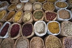 Bulk dried food in Ecuador stock image