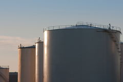 Bulk fuel storage tanks Royalty Free Stock Photography