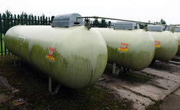 Bulk gas storage tanks in protective compound. Stock Photography