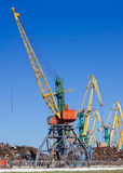 Bulk-handing cranes in port Royalty Free Stock Photo