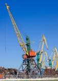 Bulk-handing cranes in port Royalty Free Stock Photo