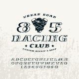 Bulk italic serif font and racing club emblem Stock Photos