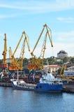 Bulk lastfartyg under portkranen Royaltyfria Bilder