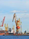 Bulk lastfartyg under portkranen Arkivfoton