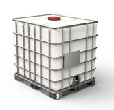 Bulk liquid container isolated on a white background.  stock photos