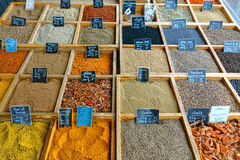 Bulk Loose Spices and Herbs in Wood Tray at Market Stock Photos