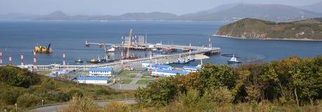Bulk-oil port. In the autumn stock photos