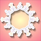 Round frame with a pattern of hearts and stars for princesses Royalty Free Stock Photo