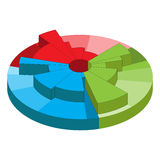 Bulk pie chart with three radial segments. Isometric diagram with color gradation Royalty Free Stock Photo