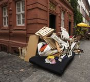 Bulk rubbish in the Streets. Of Heidelberg. Baden-Württemberg, Germany royalty free stock images