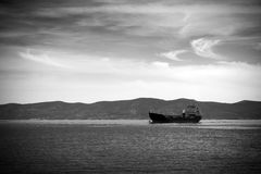 Bulk ship. Black and white photo of a Bulk-ship cruising the sea stock photos