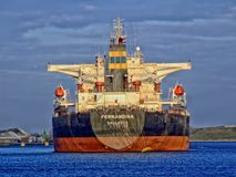 Bulk ship on channel Royalty Free Stock Photos