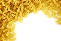 Bulk spiral pasta. Blank space for text.  stock photo