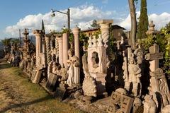 Bulk stone carvings in Tzintzuntzan. Bulk stonecarvings for sale on streetside in Tzintzuntzan,Michoacan,Mexico royalty free stock photos
