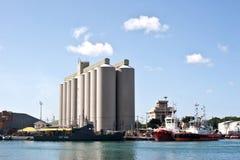 Bulk Sugar Terminal Mauritius. View of the Bulk Sugar Terminal situated in Port Louis Capital of Mauritius stock photos