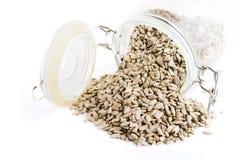 Bulk Sunflower Seeds. On white royalty free stock photos