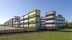 Bulk tanks. Area with piled up bulk containers for liquids stock photo