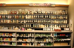 Bulk teas in supermarket Stock Photos