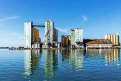 Bulk terminal. In the Port of Ystad, Sweden's third-largest cargo and ferry port, serving over 1.7 million travellers per year, a part of the E65 trans royalty free stock photo