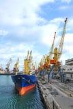 Bulkladungsschiff unter Hafenkran Stockfotos