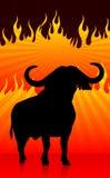Bull με το υπόβαθρο πυρκαγιάς διανυσματική απεικόνιση