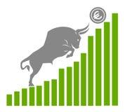 Bull двигает евро вверх на диаграмме, положительном валютном рынке стоковое фото rf