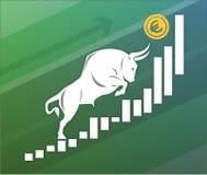 Bull двигает евро вверх на диаграмме, положительном валютном рынке стоковая фотография