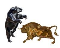 Bull и медведь иллюстрация вектора